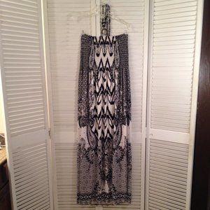 Magic 2X Strapless Black White Beaded Maxi-Dress